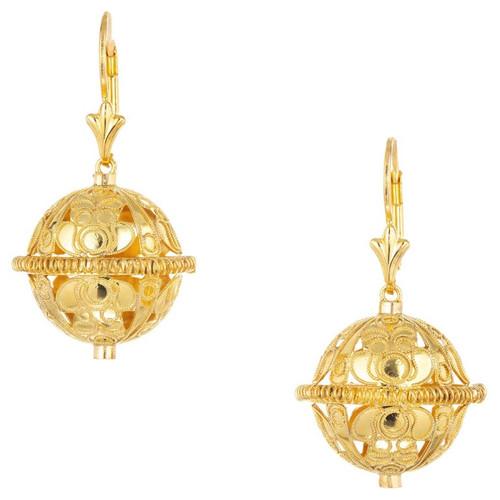 Open Work Yellow Gold Ball Dangle Earrings