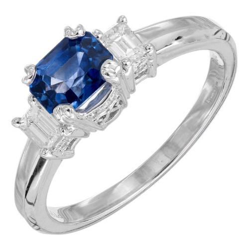Peter Suchy AGL Certified 1.29 Carat Sapphire Diamond Platinum Engagement Ring