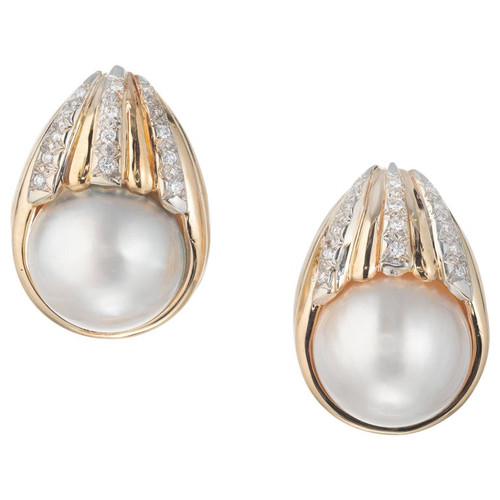 Mabe Pearl Diamond Yellow Gold Clip Post Earrings