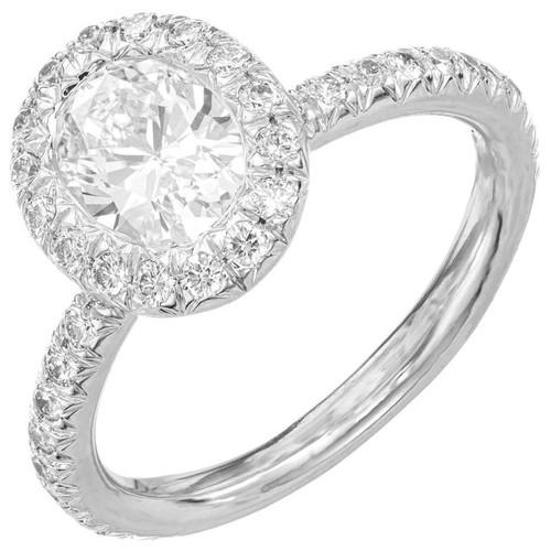 Kwiat 1.10 Carat Oval Diamond Micro Pave Halo Platinum Engagement Ring