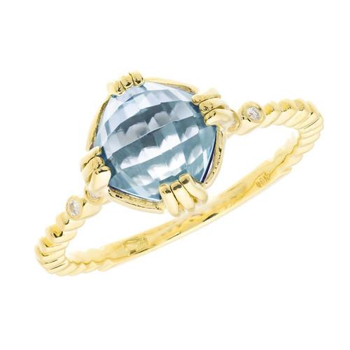 1.20 Carat Blue Topaz Amethyst Diamond Yellow Gold Ring