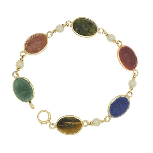 Scarab Cultured Pearl Yellow Gold Bracelet