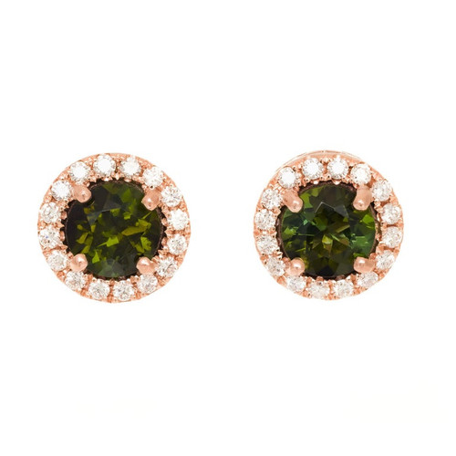 Peter Suchy 1.11 Carat Tourmaline Diamond Rose Gold Halo Earrings