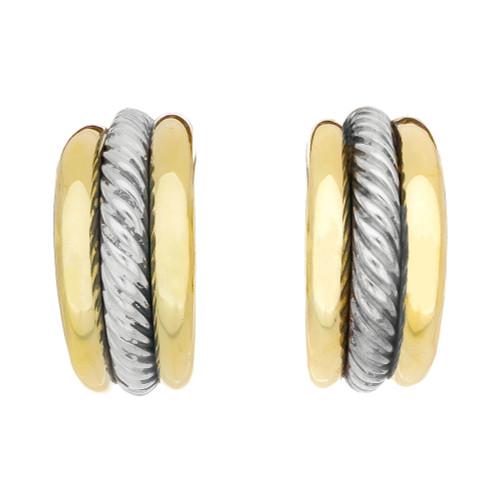 David Yurman Yellow Gold Sterling Silver Huggie Hoop Earrings