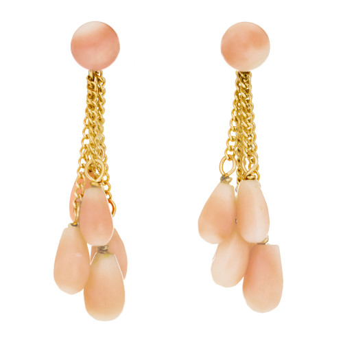 Coral Yellow Gold Dangle Drop Earrings