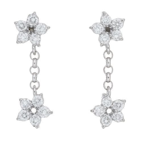 Peter Suchy .40 Carat Diamond Platinum Star Dangle Drop Earrings