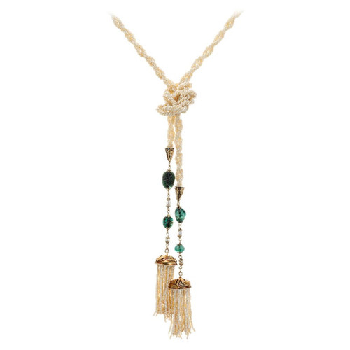 GIA Certified 24.00 Carat Emerald Seed Pearl Yellow Gold Art Nouveau Necklace
