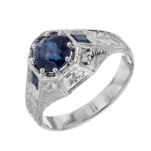 GIA Certified 1.62 Carat Blue Sapphire White Gold Men's Ring
