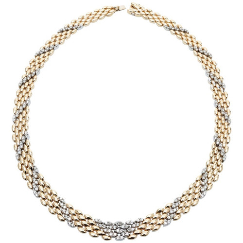 3.50 Carat Diamond Yellow Gold Panther Link Necklace