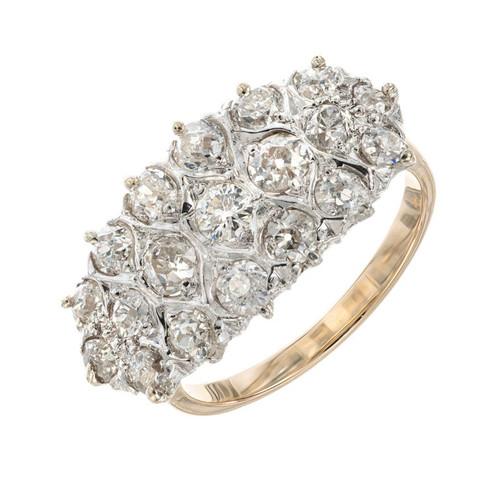 1.35 Carat Diamond Platinum Yellow Gold Cluster Ring