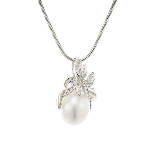South Sea Cultured Pearl White Gold Enhancer Pendant Necklace