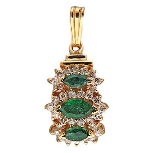 Vintage Curved 3 Marquise Emerald 14k Gold 32 Full Cut Round Diamond Pendant