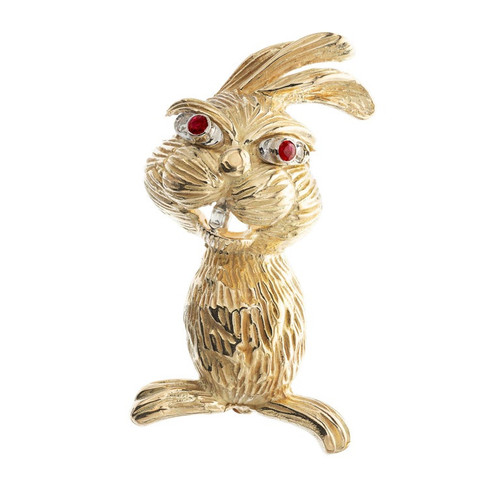 .11 Carat Diamond Ruby Yellow Gold Rabbit Brooch