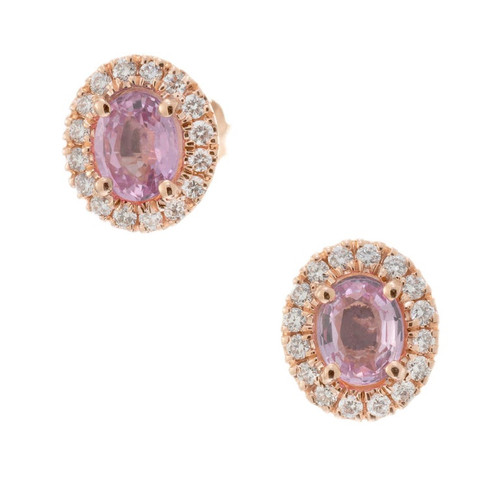 Peter Suchy .75 Carat Pink Sapphire Diamond Rose Gold Halo Earrings