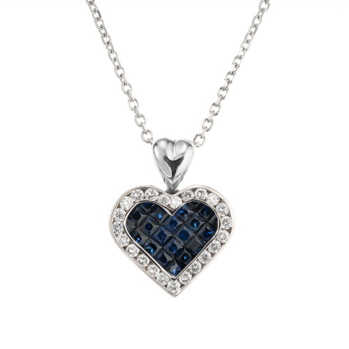 1.00 Carat Sapphire Diamond White Gold Heart Pendant Necklace
