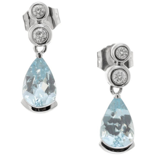 1.00 Carat Aquamarine Diamond White Gold Dangle Earrings