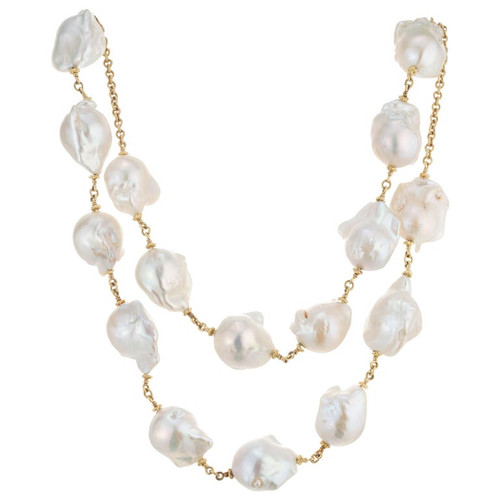 Judith Ripka Freshwater Pearl Yellow Gold Paloma Necklace