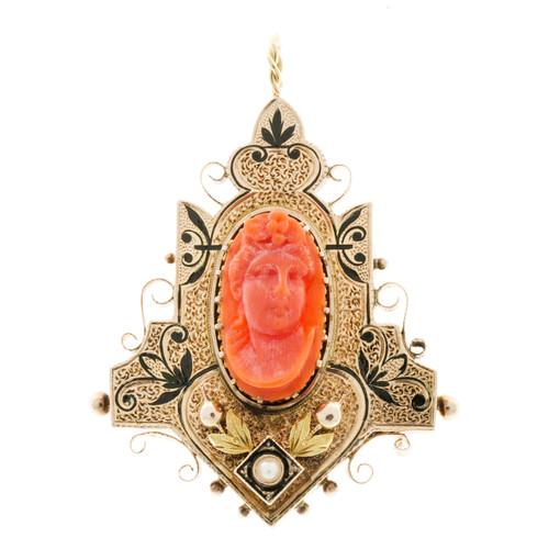 Vintage Antique 14k Pink Gold Carved Untreated Coral Black Enamel Pendant