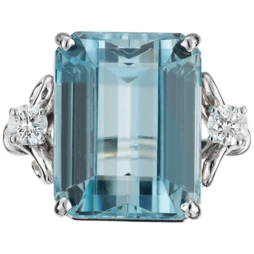 19.58 Carat Aquamarine Diamond Platinum Cocktail Ring