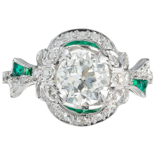GIA Certified 1.33 Carat Diamond Emerald Platinum Engagement Ring