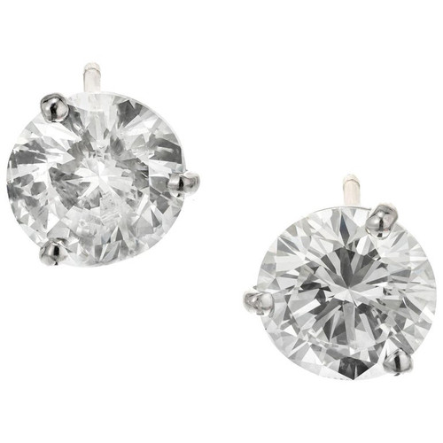 Peter Suchy GIA Certified 3.00 Carat Diamond Platinum Martini Stud Earrings