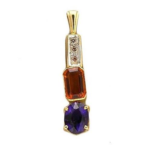 Vintage 3 Hinged Emerald Cut Orange Citrine Oval Amethyst Diamond 14k Pendant