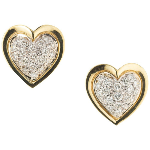 .90 Carat Diamond Two-Tone Gold Midcentury Heart Earrings