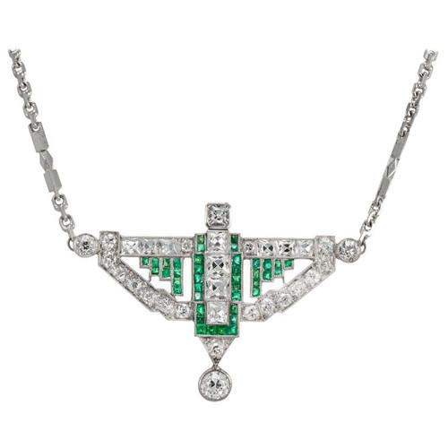 5.02 Carat Diamond Emerald Art Deco Platinum Pendant Necklace