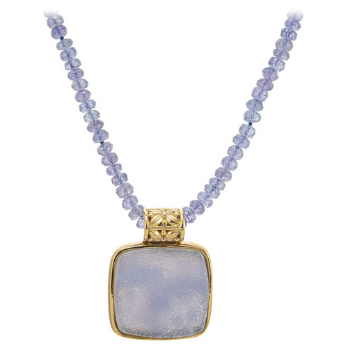 13.00 Carat Druzy Quartz Faceted Bead Yellow Gold Pendant Necklace