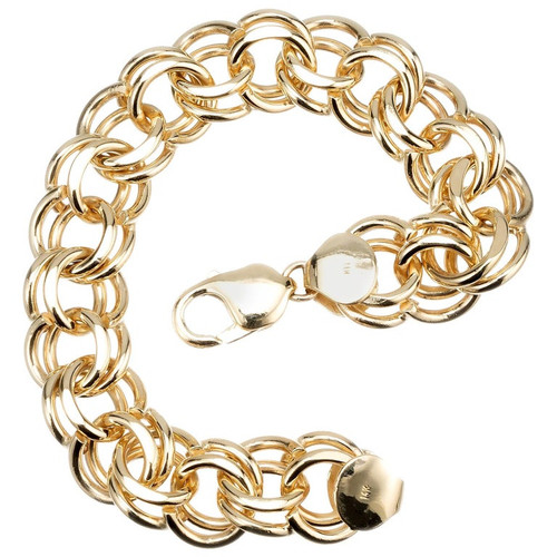 Solid Yellow Gold Double Spiral Link Charm Bracelet