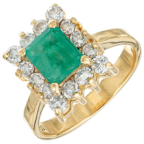 GIA Certified 1.00 Carat Emerald Diamond Halo Gold Engagement Ring
