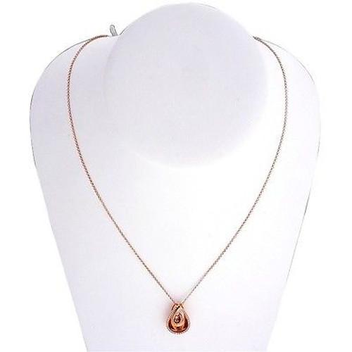 Vintage Estate AGI 18k Pink Gold Double Pear Shape .25ct Round Diamond Pendant