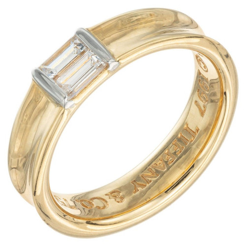 Tiffany & Co .24 Carat Diamond Yellow Gold Stackable Band Ring