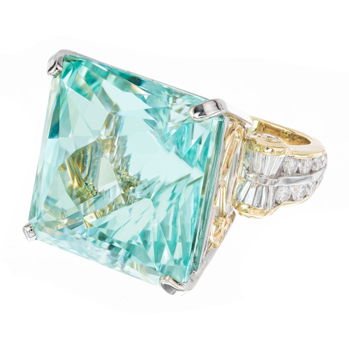 47.33 Carat Aquamarine Diamond Yellow Gold Platinum Cocktail Ring