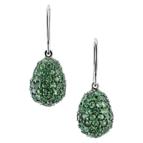 4.95 Carat Green Demantoid Garnet Dangle Earrings