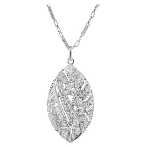 Midcentury .65 Carat Diamond White Gold Pendant Necklace