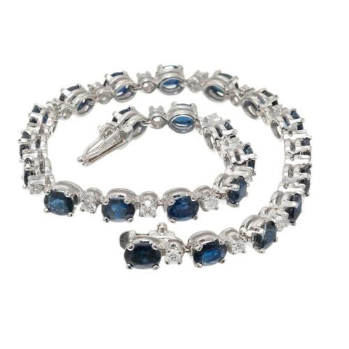 8.00 Carat Blue Sapphire Diamond White Gold Bracelet