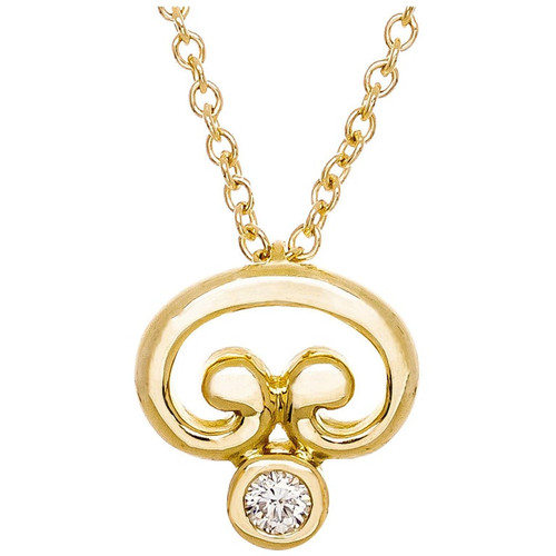 .15 Carat Diamond Yellow Gold Freeform Pendant Necklace
