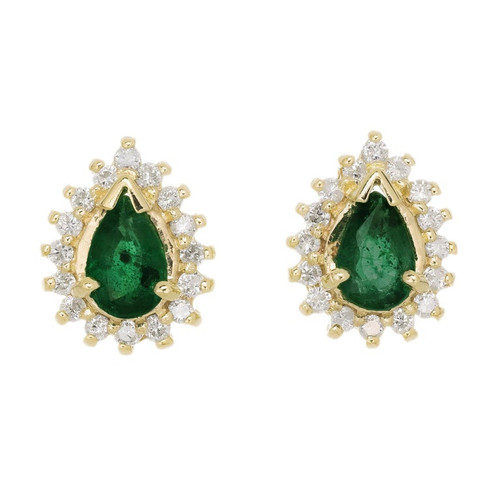 .50 Carat Emerald Diamond Halo Yellow Gold Stud Earrings