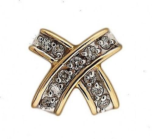 "Vintage Estate Classic 14k Gold 11 Full Cut Round Diamond ""X"" Slide Pendant"