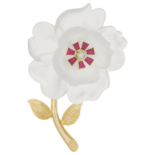 Carved Quartz Ruby Diamond Yellow Gold Flower Brooch
