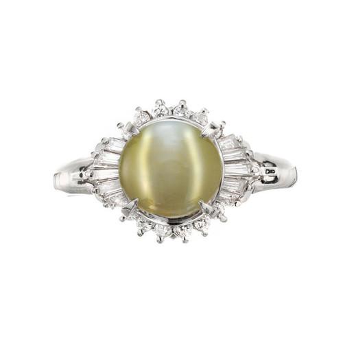 GIA Certified 3.69 Carat Chrysoberyl Cats Eye Diamond Platinum Ring