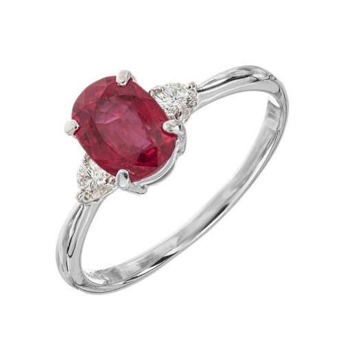 GIA Certified 1.11 Carat Ruby Diamond Platinum Engagement Ring