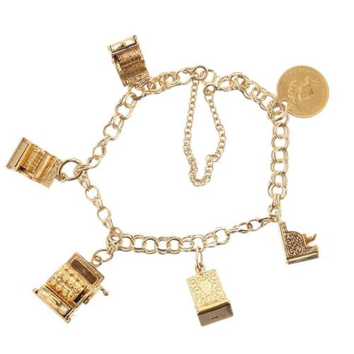 Yellow Gold Cash Register Charm Bracelet