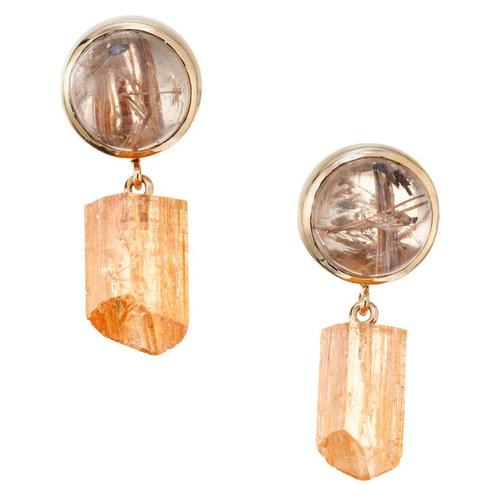 Peter Suchy 10.21 Carat Quartz Crystal Yellow Gold Dangle Earrings