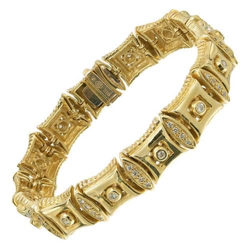 Doris Panos 1.00 Carat Diamond Yellow Gold Link Bracelet