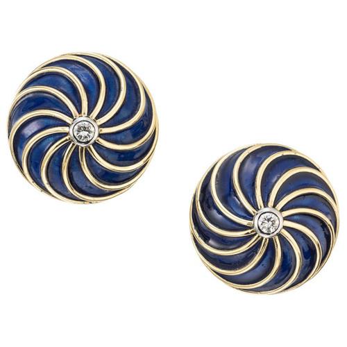 .12 Carat Diamond Blue Enamel Yellow Gold Swirl Design Earrings