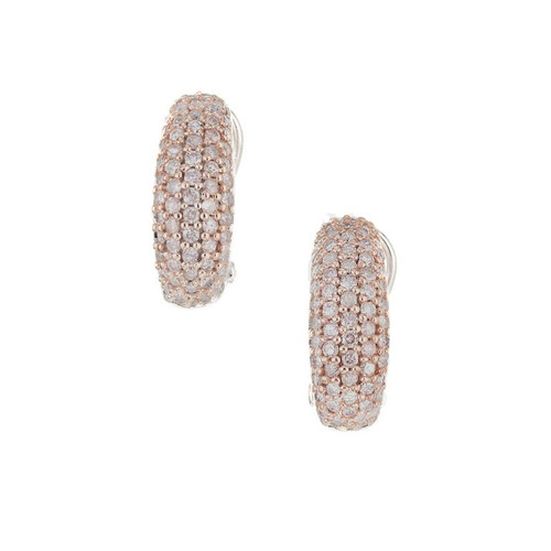 1.25 Carat Brown Pink Diamond White Gold Clip Post Earrings