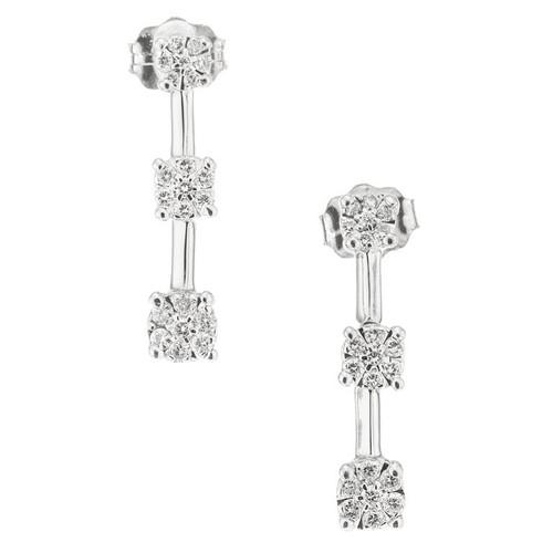 .40 Carat Diamond White Gold Triple Dangle Drop Earrings