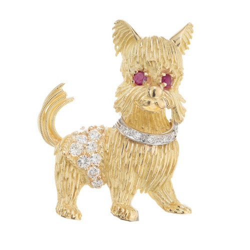 .70 Carat Diamond Ruby Yellow Gold Yorkshire Terrier Brooch